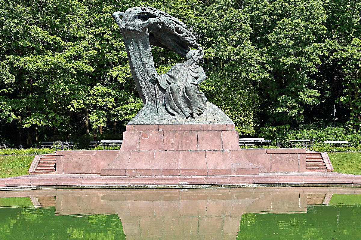 Парк Лаженки: паметникът на Шопен и езерото