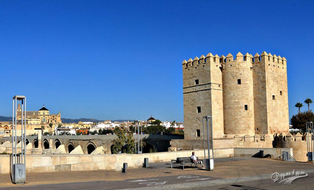 Кулата Калаора, Римският мост и джамията в далечината