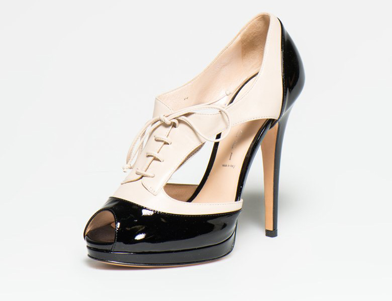 Casadei : Black&Beige Leather Shoes | FashionDays