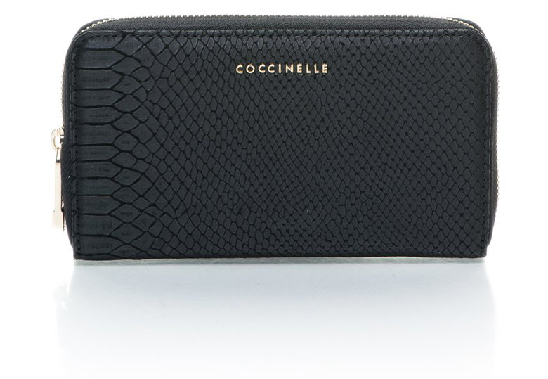 COCCINELLE :  Black Zipped Snake Skin Pattern Leather Wallet | FashionDays
