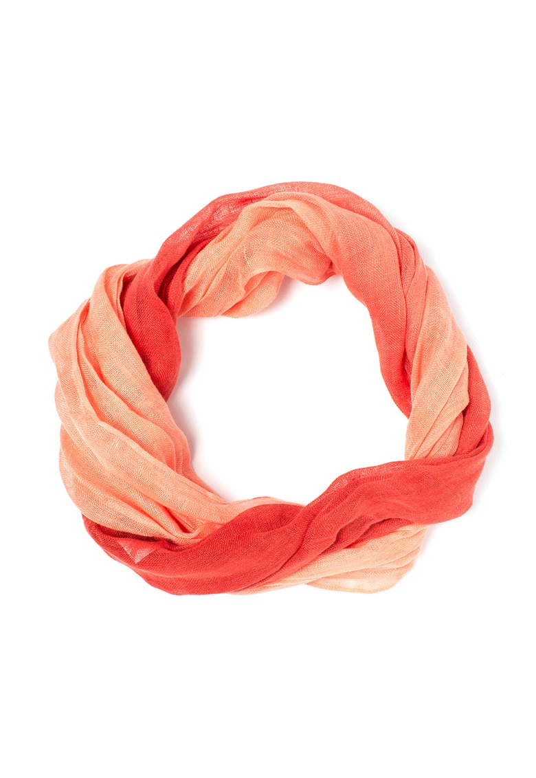 EDC by ESPRIT : Red&Coral Gradient Linen Circular Scarf