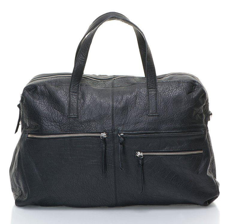 Black Leather Travel Bag | FashionDays