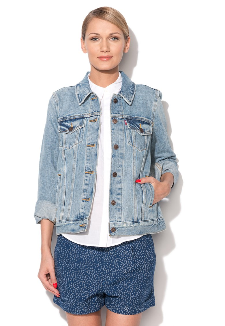 Levi`s : Boyfriend Trucker Washed Blue Denim Jacket