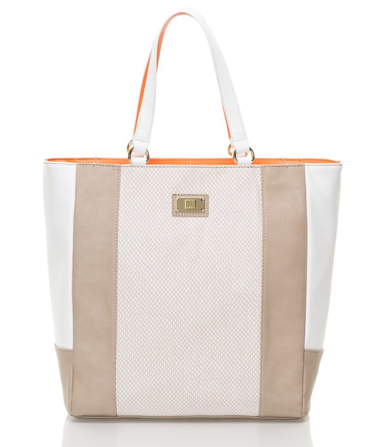 Geox : Beige&White Shopper Bag | FashionDays